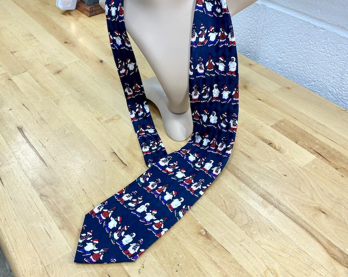 Penguins Ice Skating Necktie, Winter Holiday Festive Tie, Christmas Necktie