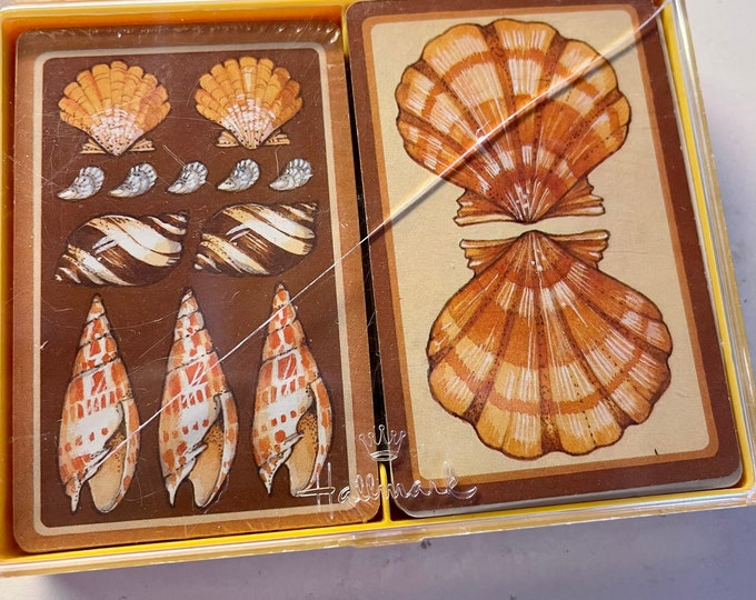 Seashell Playing Cards, Vintage Bridge Cards, Beach house games