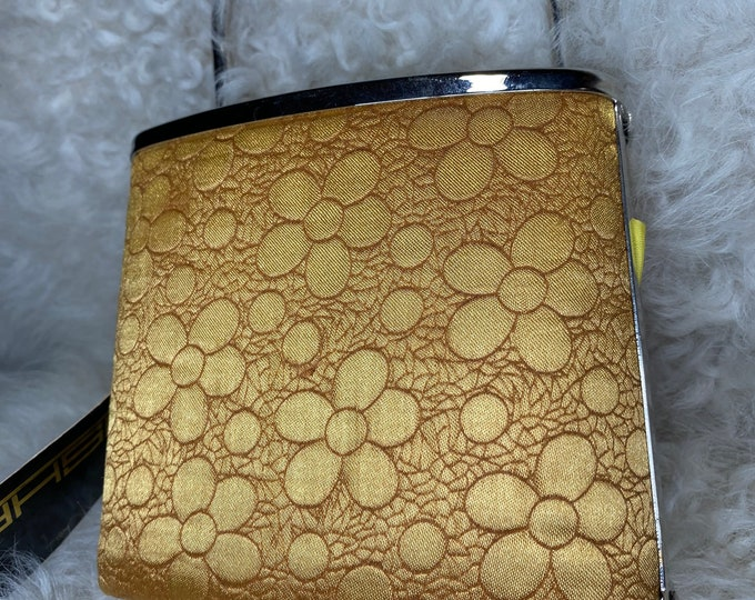 Gold fashion handbag, small evening purse, cocktail bag