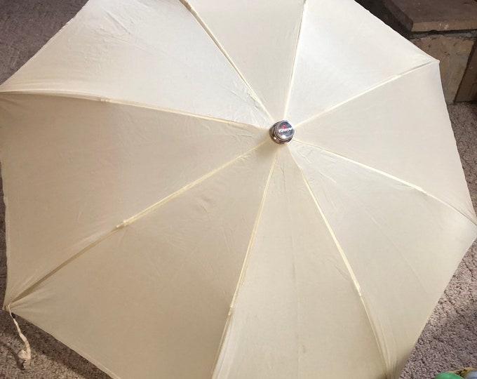 Knirps Retro Umbrella, Unisex Beige Vintage Umbrella, Mid Century Umbrella With Case