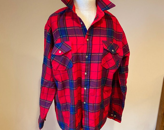 Red plaid button down shirt, unisex boho hipster CPO jacket , winter weight oxford