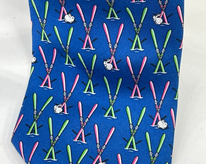 Ski Bunny Necktie, Silk Downhill Skiier Tie, Vibrant Colors Winter Necktie