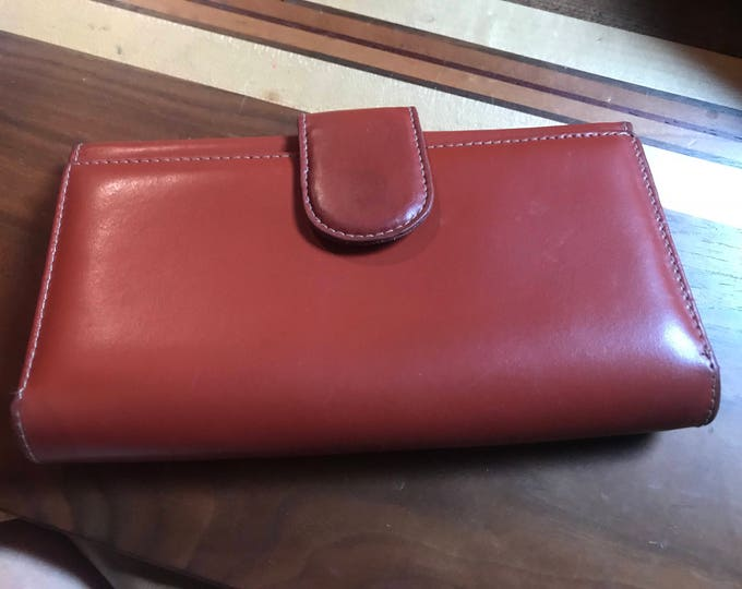 Women's leather wallet,  vintage card holder, Italian leather clutch