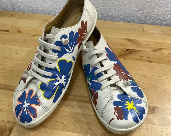 Casual Leather Shoes, Retro Flower Sneakers, Camper Women's Floral Shoes