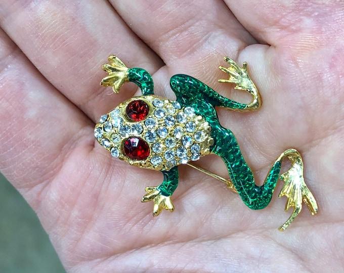 Rhinestone Frog Brooch, Costume Jewelry Toad Pin, Green Crystal Frog Jewelry