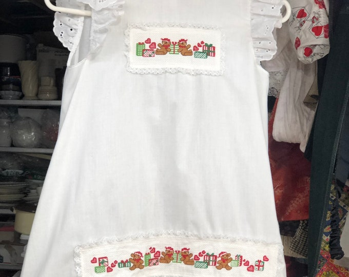 Girl's Christmas Dress, Child Embroidered Holiday Party Smock