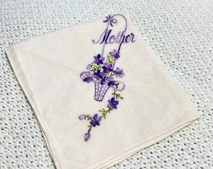 Mother's Day Gift, Embroidered Mother Handkerchief, Purple Violets Hanky