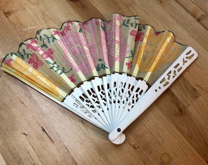 Hand Fan Fabric and Lace, Southern Lady Vintage Fan