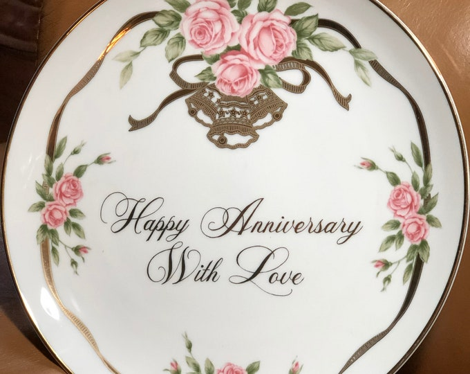 Happy Anniversary Collectible Gift Plate, Lefton China Anniversary Party Gift - With Love Party Gift