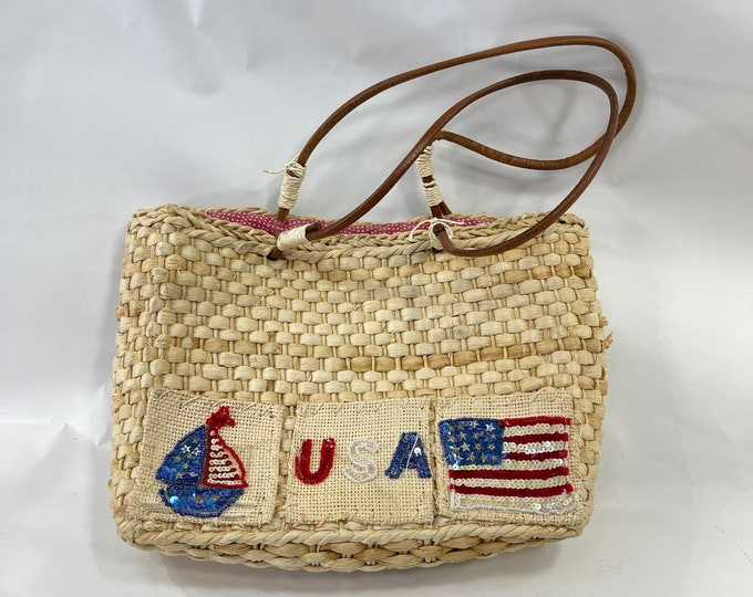 USA Wicker Handbag, Independence Day Summer Purse, American Flag Bag