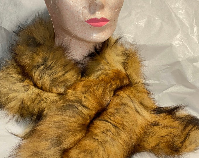 Vintage fur collar, fluffy retro fur scarf, brown furry coat collar