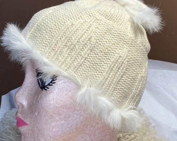 Kangol winter hat, lambswool white beanie hat
