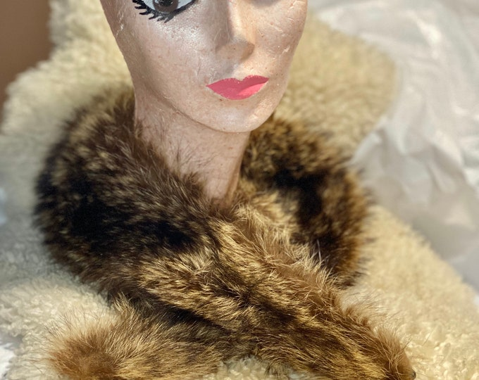 Fur vintage collar, fluffy retro fur scarf, brown fur collar