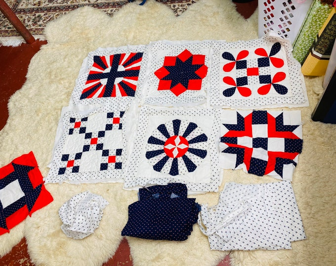 Unfinished Quilt Fabric Squares, Pre Quilted Fabric Blanket Pieces - Sewing Project