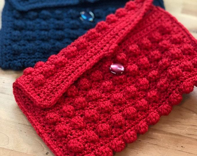 Clutches red and blue retro handmade, Mid Century Fashion handbag
