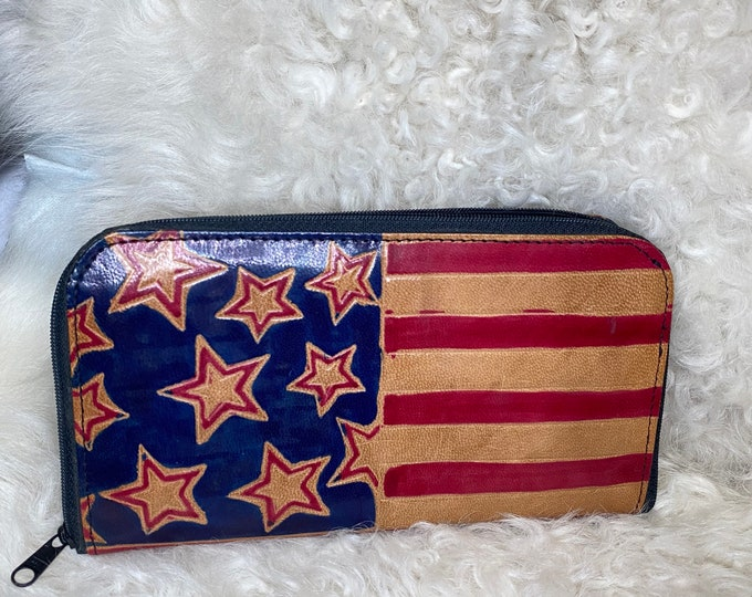 America leather wallet, retro flag clutch, USA purse accessory