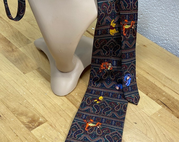 Winnie The Poo Necktie, The Disney Store, Paisley Cartoon