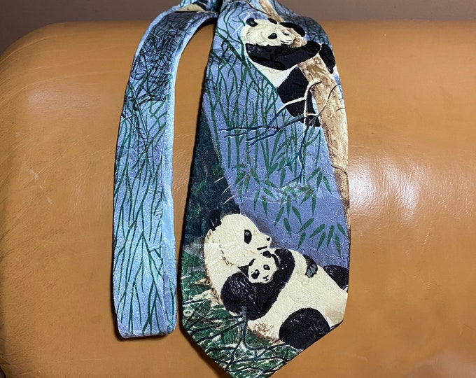 Panda Necktie, Endangered Species Tie, Silk Father Necktie