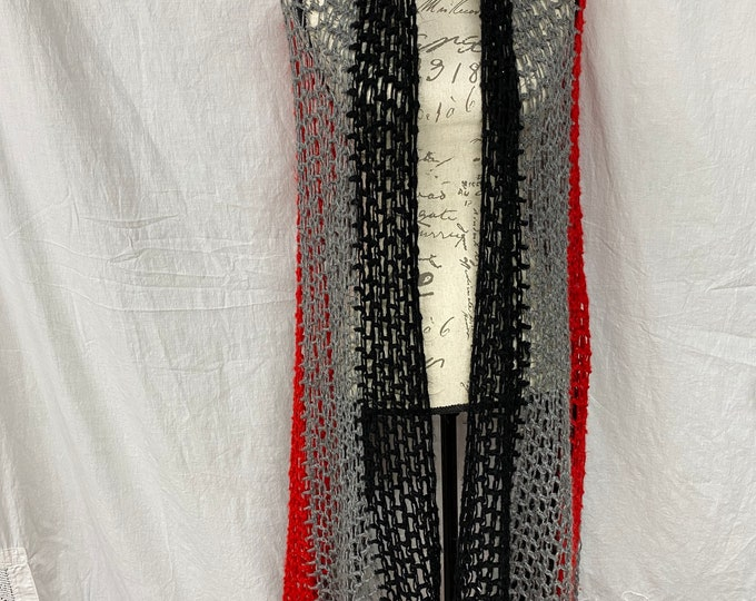Handmade Afghan, Winter Cape Wrap, black and red