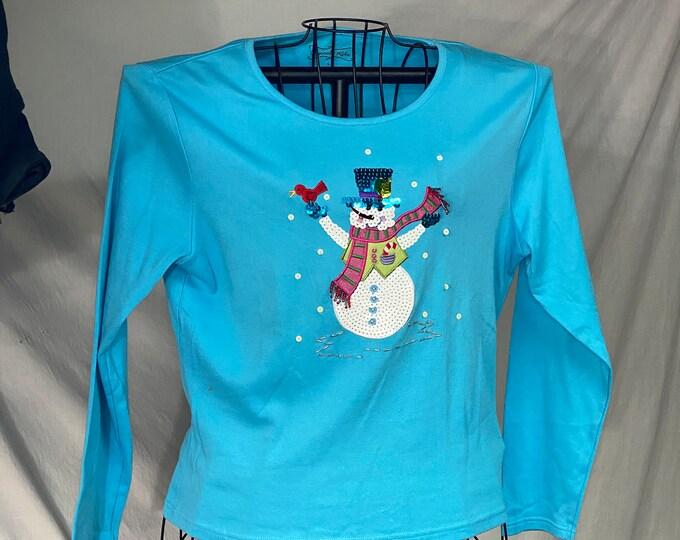 Snowman Christmas Shirt, Sequins Holiday Top, Women's Winter Fashion