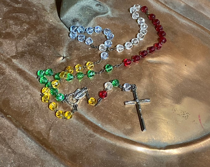 Colored Bead Rosary, Vintage Religious Beads, Prayer Beads Rosary