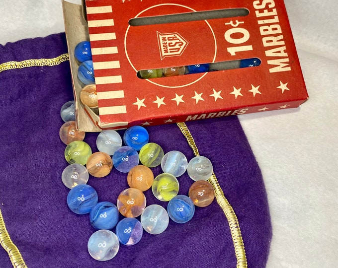 Box of Toy Marbles, collectible glass marbles, vintage game