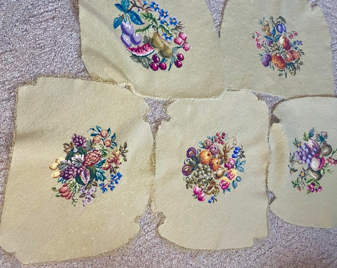 Vintage Needlepoint Chair Covers, Floral Set of 5 Tapestry Cushions, Handmade Chair Seat Covers