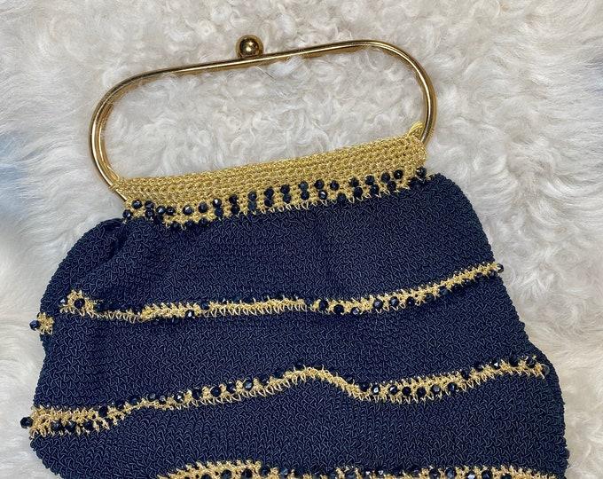 Black retro fashion purse, Crocheted vintage black and gold handbag - flapper fashion