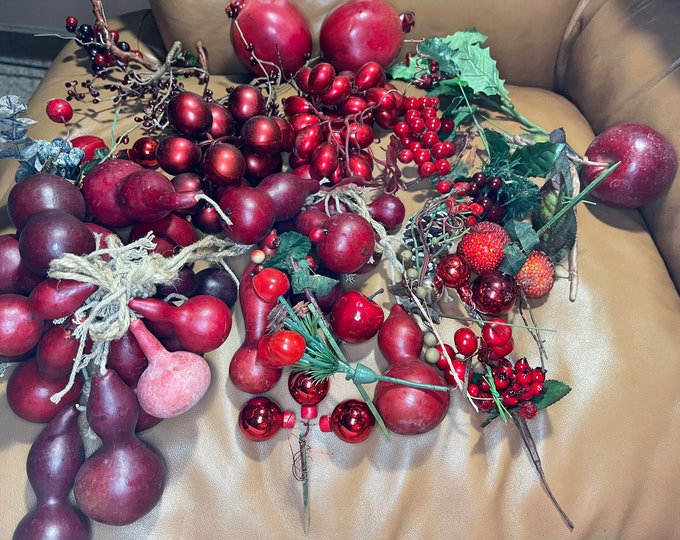 Red Artificial Holiday Decorations, Faux Fruit Wreath Decor, Christmas Embellishments