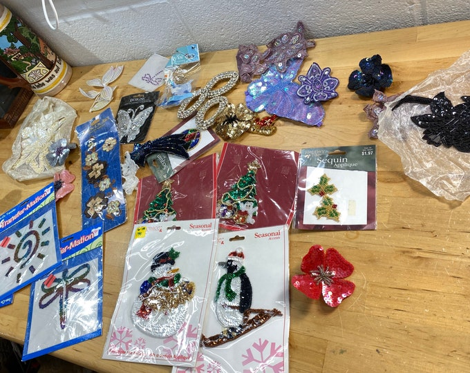Sequins embellishments and patches lot, craft supplies