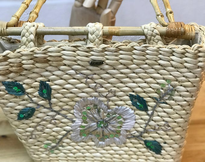 Summer Beach Handbag, Woven wicker purse, Mid Century Retro Bag