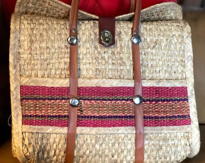 Retro straw beach bag, vintage vegan woven rattan market bag