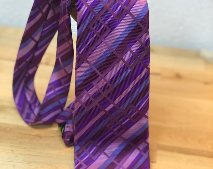 Purple Striped Necktie, Retro tie, Father's Day Gift