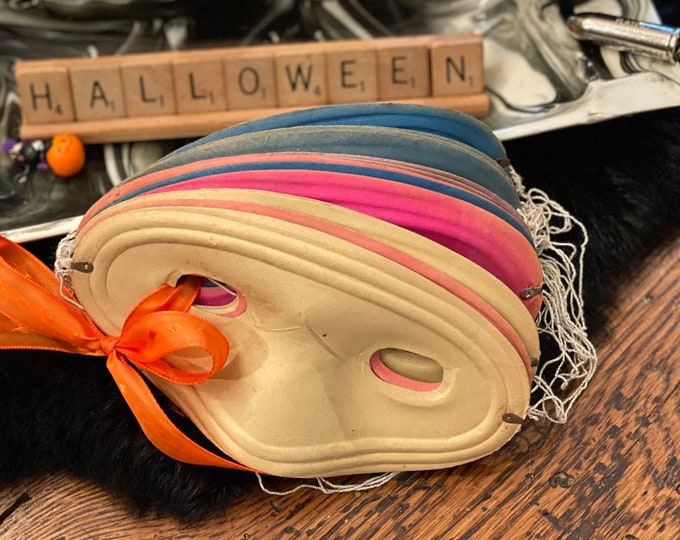 Masquerade Masks, Colombina Paper Eye Covers, Vintage Halloween Costume