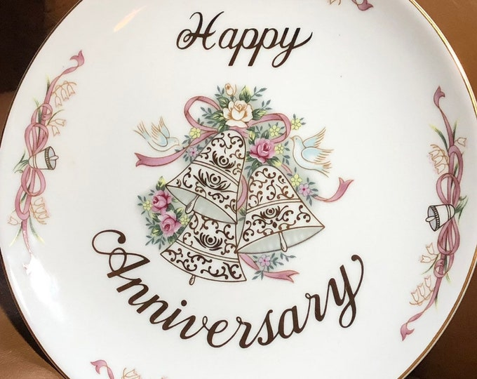 Happy Anniversary Plate, Lefton Vintage Collectible Cake Display Plate - Hand Painted China
