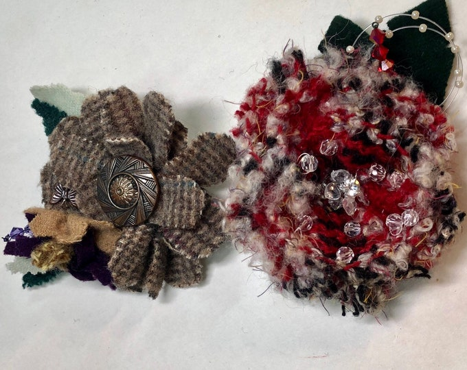 Wool Handmade Brooches, Flower Millinery Women's Hat and Coat Pins