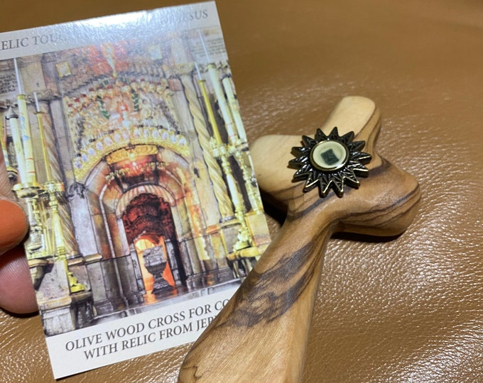 Handcrafted Olive Wood Cross, Jerusalem Relic Medal of Jesus Tomb Hand Cross