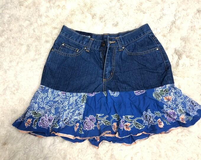 Up Cycled Blue Jean Mini Skirt, Floral Fun Jean Tutu Style Skirt