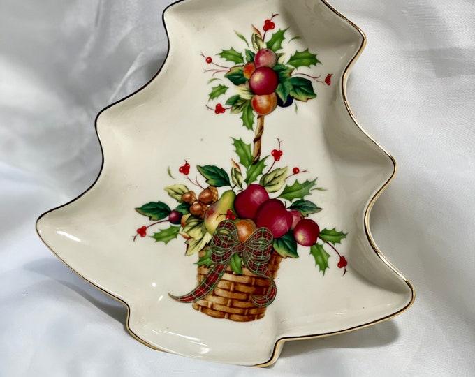 Lenox Christmas Plate, Tartan Holiday Christmas Tree Dish, Hostess Gift