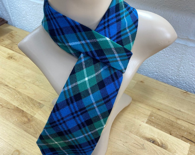 Vintage Plaid Necktie, Retro Blue Tartan Tie, Checkered Necktie
