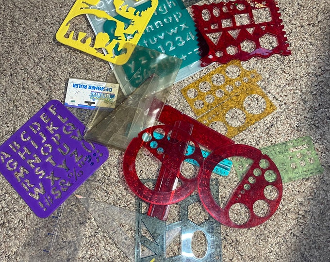 Craft Stencils Lot, Triangle Rulers, Animal And Alphabet Stencils