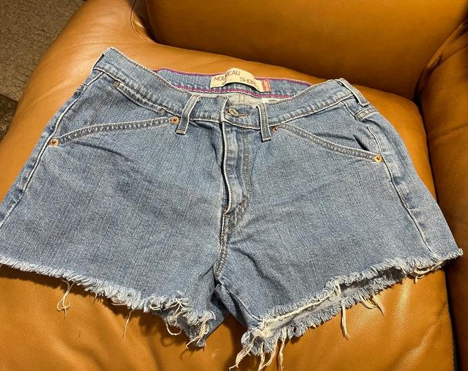 Levi's Jean Shorts, Blue Denim Cut Off Shorts, Summer Boho Shorts