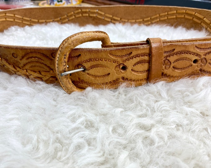 Leather Western Belt, Country Concert Cowboy Belt