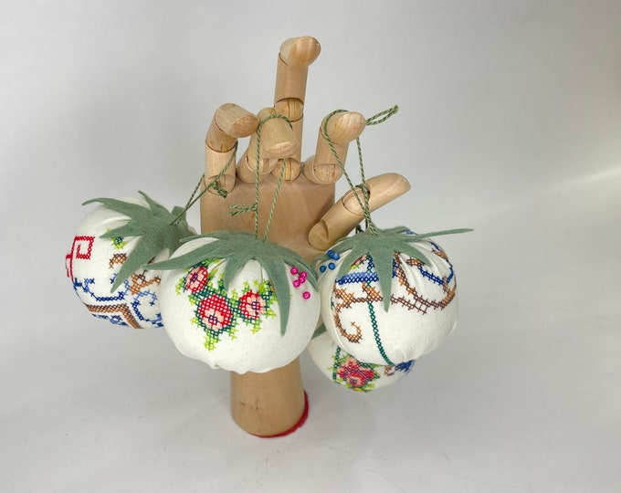 Christmas Tree Ornaments, Handmade Holiday Decoration, vintage Needlework ornament