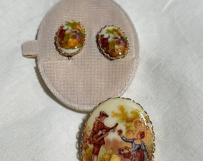 Vintage Costume Jewelry Set, Victorian Brooch, Clip on Earrings