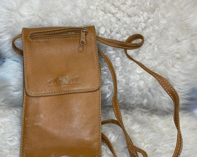 Brown leather wallet, crossbody bag, travel purse