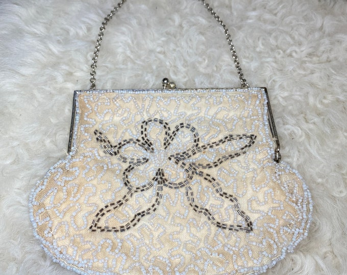Beaded formal handbag, evening cocktail purse, retro fashion bag