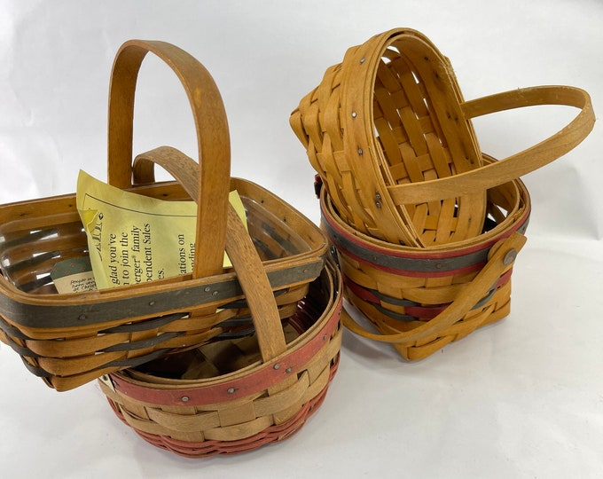 Lot of Vintage Longaberger Baskets, Holiday Handmade Collectible Baskets, Hand Woven Baskets