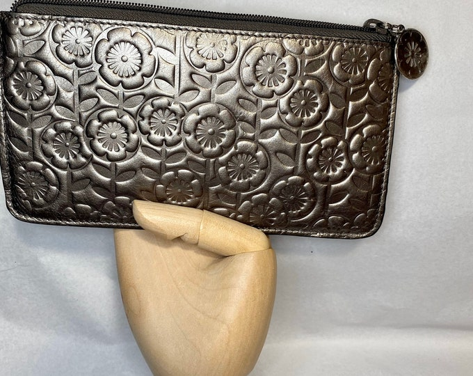 Leather change purse wallet - floral metallic small clutch - travel bag