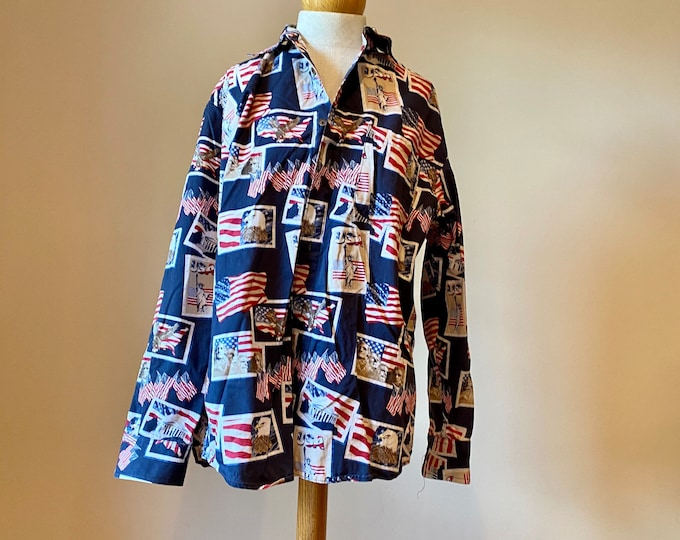 Patriotic Button Shirt, Independence Day Attire, unisex holiday shirt